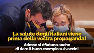 Salvini & Meloni: la destra scriteriata… comprereste un'auto usata da due (che si atteggiano a) non vaccinati come Salvini e Meloni?