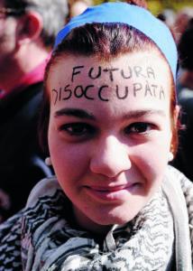 Roma, 15 ottobre 2011 Manifestazione Indignati Arrabbiati nella foto: futura disoccupata © Marco Lanni Rome Italy