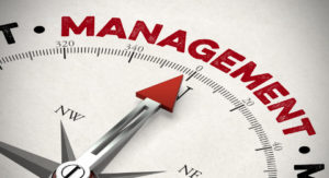 Red arrow of a compass pointing to Management concept (3D Rendering)