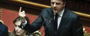 Il Presidente del Consiglio Matteo Renzi in Senato durante voto Mozione di sfiducia al Governo, Roma, 27 Gennaio 2016, ANSA/GIUSEPPE LAMI